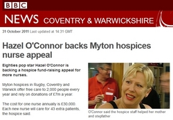 Hazel O'Connor backs Myton Hospices Nurse Appeal