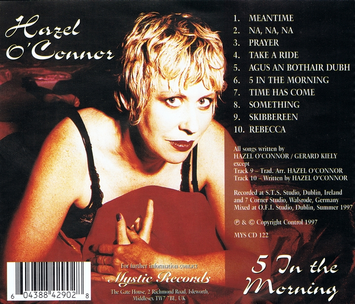 Hazel O'Connor - 5 In The Morning - Back Cover