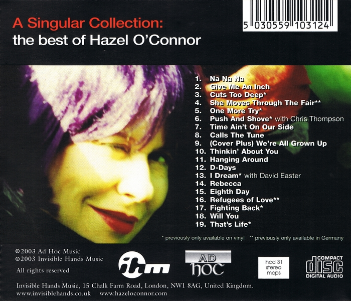 Hazel O'Connor - A Singular Collection - Back Cover