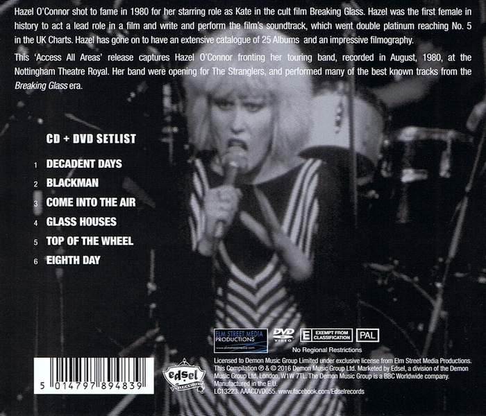 Hazel O'Connor - Access All Areas - Back Cover