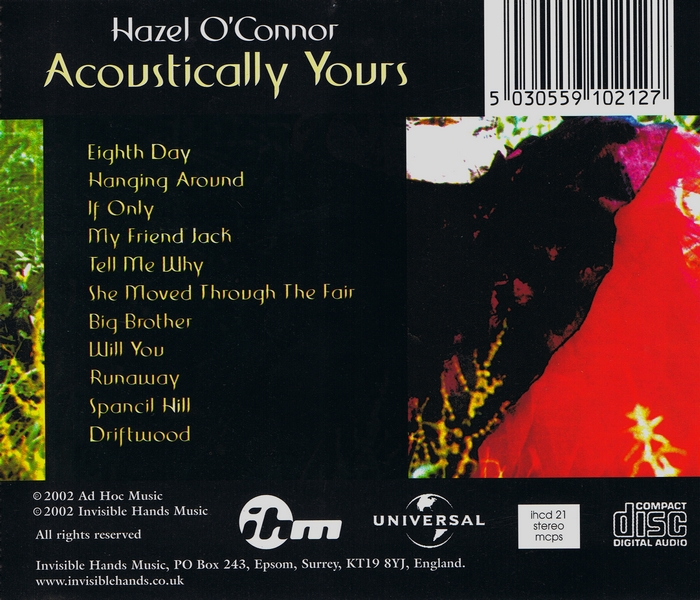 Hazel O'Connor - Acoustically Yours - Back Cover