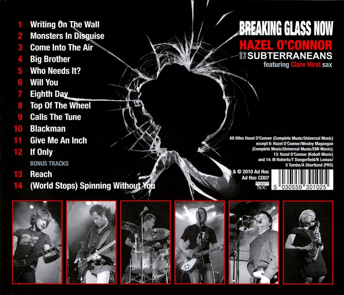 Hazel O'Connor - Breaking Glass Now - Back Cover
