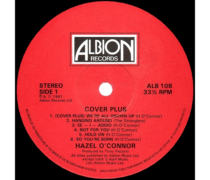 Hazel O'Connor - Cover Plus - Side 1