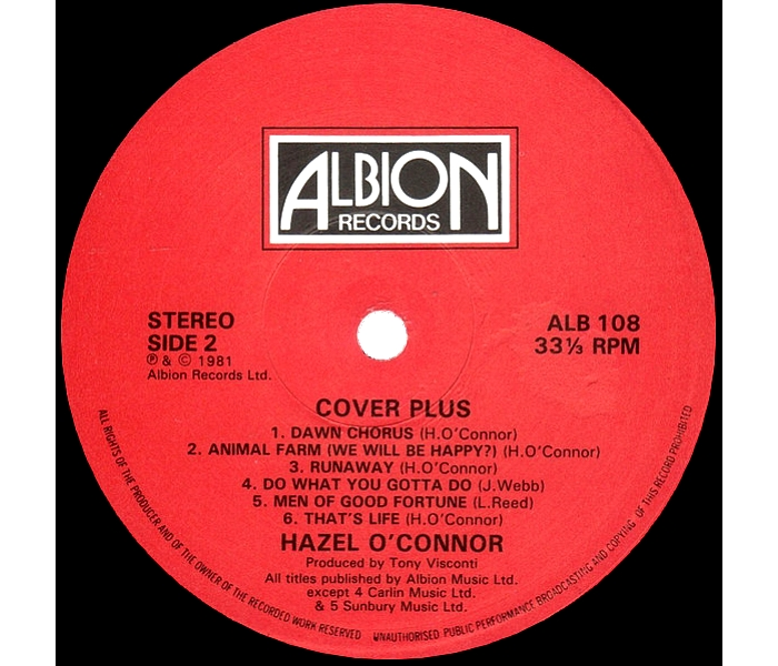 Hazel O'Connor - Cover Plus - Side 2