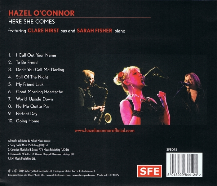 Hazel O'Connor - Here She Comes - Back Cover