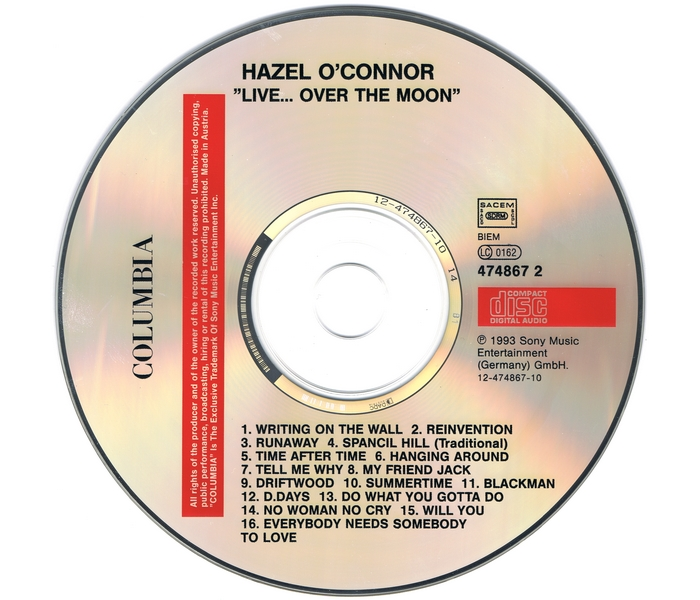 Hazel O'Connor - Live Over The Moon - Disk
